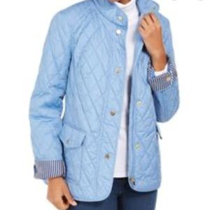 Charter Club Womens Blue Zippered Quilted Jacket